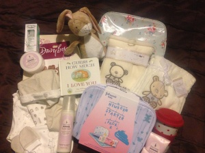 Spoilt rotten with gifts from the girls - Mammas and Pappas' baby set, Johnson's baby set, Sanctuary mum-to-be set, Bean's first book and more