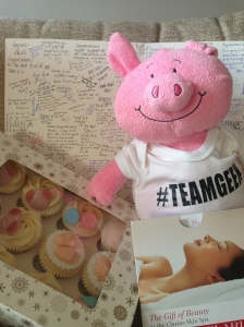 Leaving gifts from work: spa treat, cupcakes, teddy and babygro :)