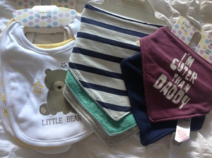 Some very cute bibs from Aunty Clare (not sure when to start using them?) from Next and Tesco