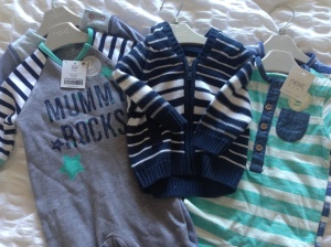 Fab babygros, sleepsuits and a cardie all from Next from Aunty Clare