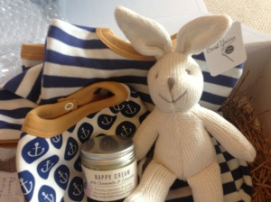 Gorgeous set from good friends down under via littlelavendertree.co.uk - gorgeous organic babygro and bib, cute bunny and natural nappy cream that we've already had to start using!