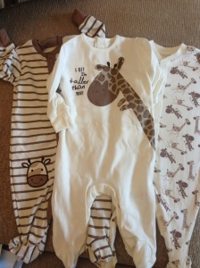 Gorgeous Giraffe sleepsuits from family friends, from Matalan
