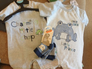 Cute Froggy babygro's from Daddy's work colleagues - from Tu at Sainsbury's