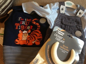Tigger sleeping bag, cute little outfit (both Asda) and some bibs from Great Aunt T