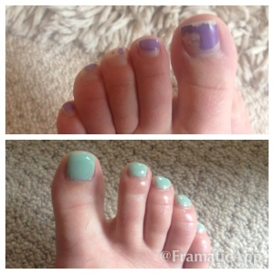 Week 40 toes before and after pedicure!