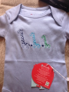 Cute, organic giraffe babygro from a friend's mum - from Piccalilly