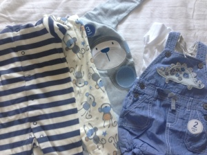 3x sleepsuits (stripes/monkeys) and a gorgeous dinosaur summer outfit from Next - from good friends Shell 'n' Lee