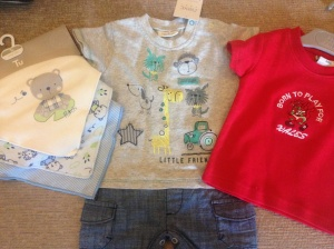Gifts from a Great Aunt and Uncle - outfit from Next, bibs from Tu and a Welsh T-shirt!