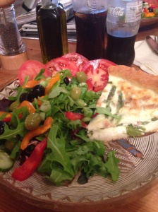 Delicious quiche and salad at Torre cafe, Cardiff