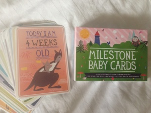I bought these milestone cards for photos with W - love them!