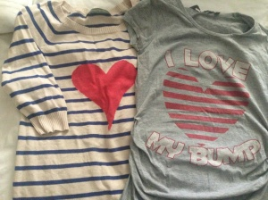 Fave eBay purchases (L) Mothercare jumper (R) T-shirt from New Look