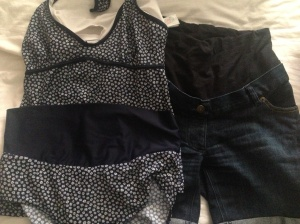 Maternity holiday clothes - Tankini and Denim shorts from JoJo MamanLeBebe