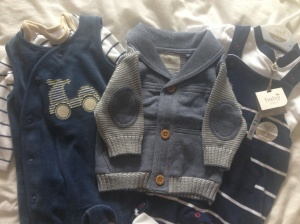 Lovely outfits from family friends (L-R Mothercare, Next, M&Co)
