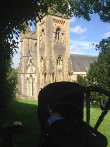 Stopped for a feed on a secret bench overlooking Llandaff cathedral