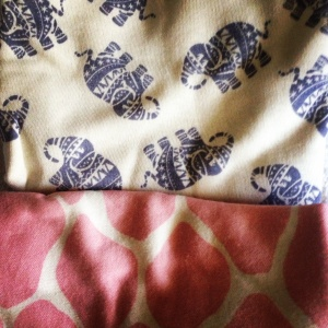 New elephant/ pink giraffe print babygros from Marks & Spencer (Instagrammed)
