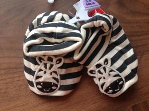 Zebra booties from Tesco