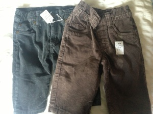 Baby boy cords from H&M and Next