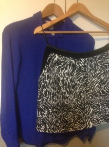 Blue shirt from H&M, zebra print skirt from Oasis