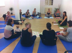 Our mother and baby yoga group (photo taken from PureYoga Facebook page)