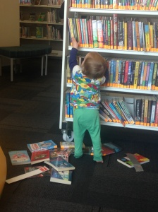 Making a right mess in the library!