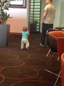 The only photo I have of Novotel Birmingham airport- baby W tottering around the bar area - he had just started walking!