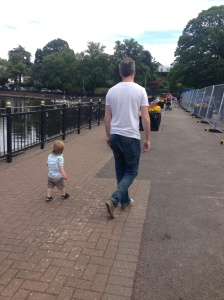 Walking in Roath Park with daddy!