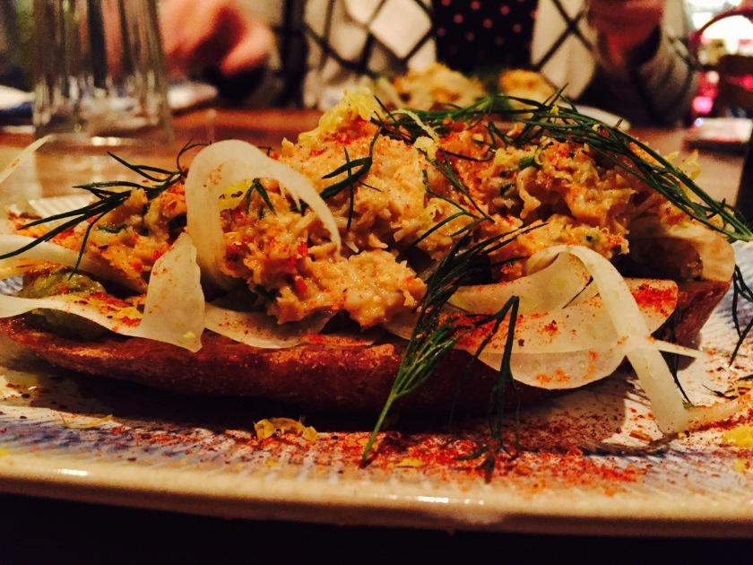 crab and avocado bruschetta at jamies italian