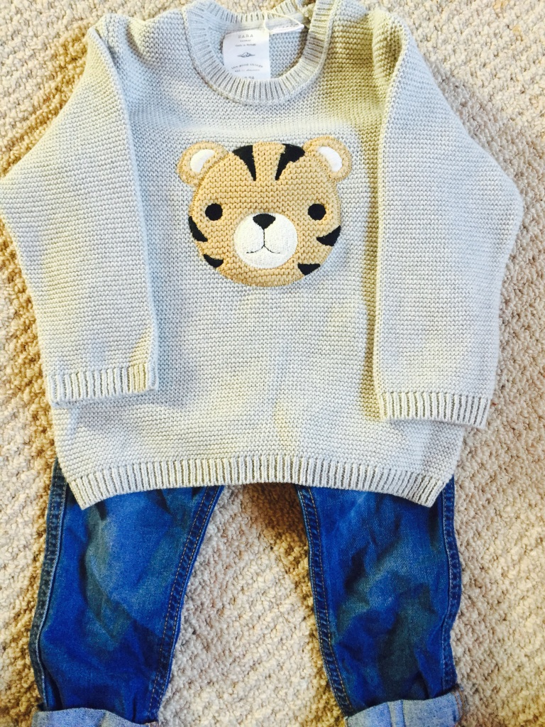 bear jumper and jeans zara