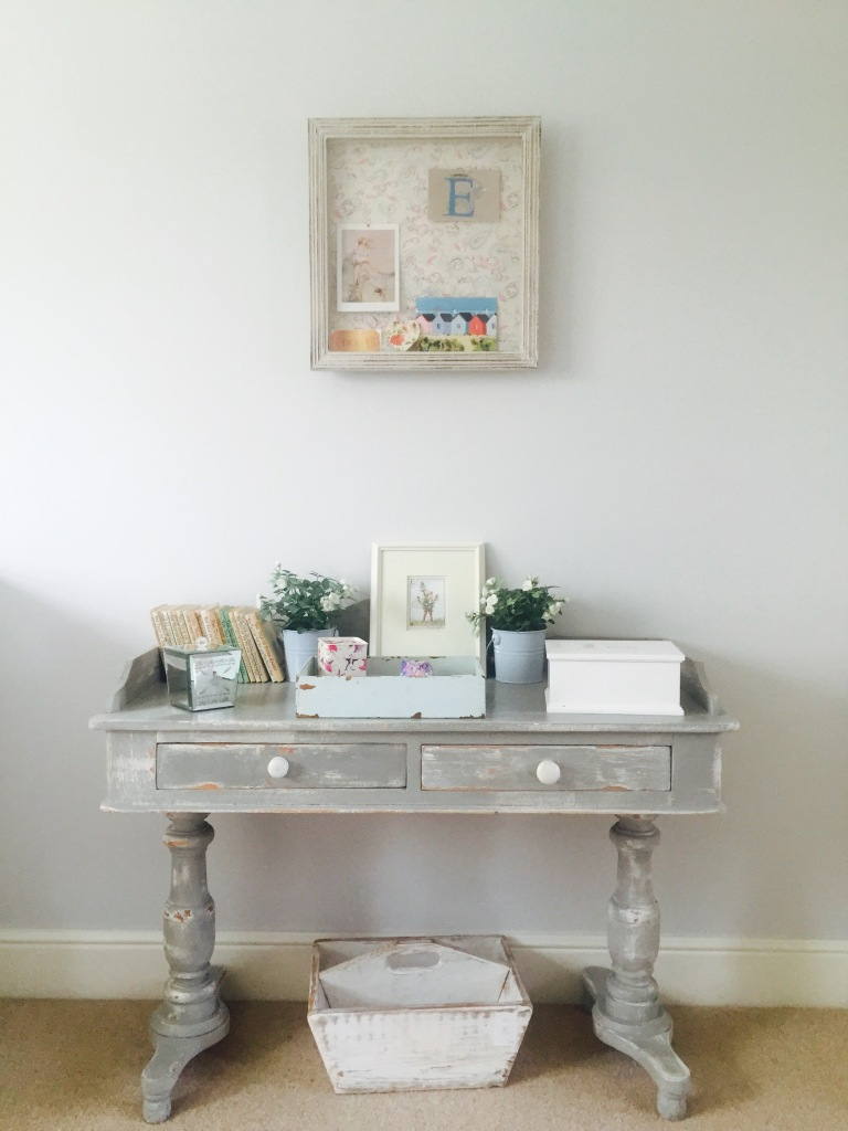 grey shabby chic desk in  childrens room