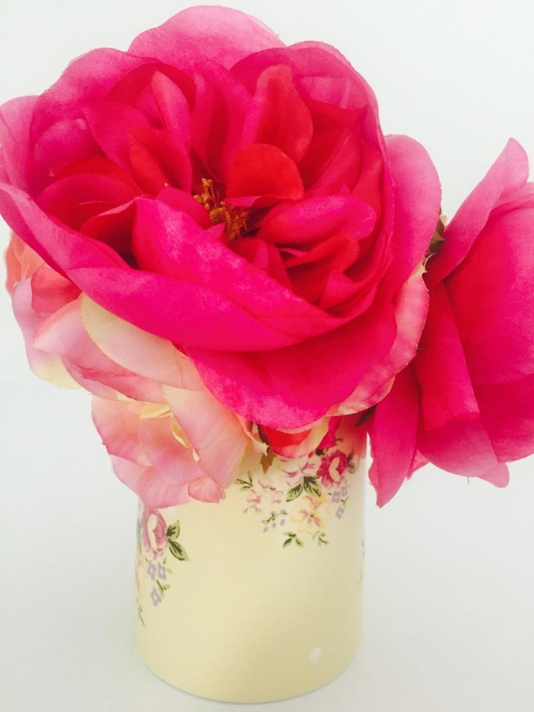 pink flowers in floral vase