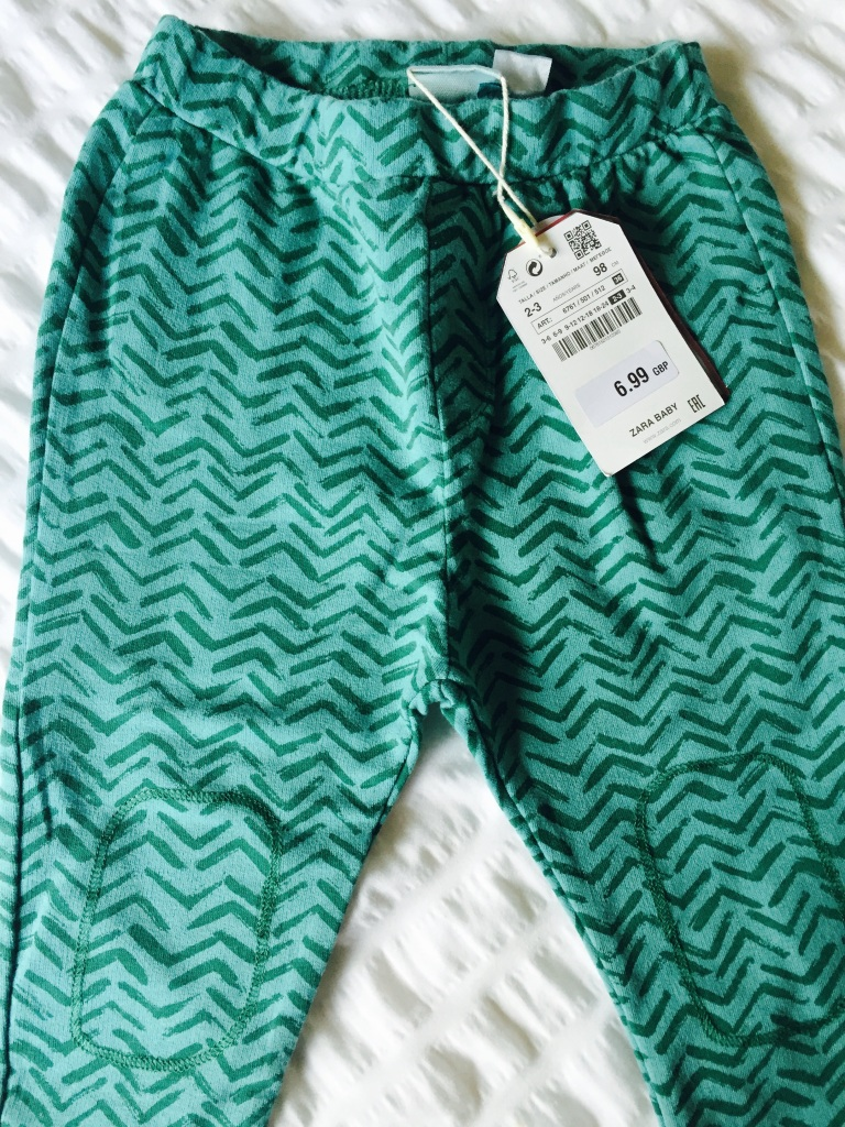 zara green zig zag toddler leggings