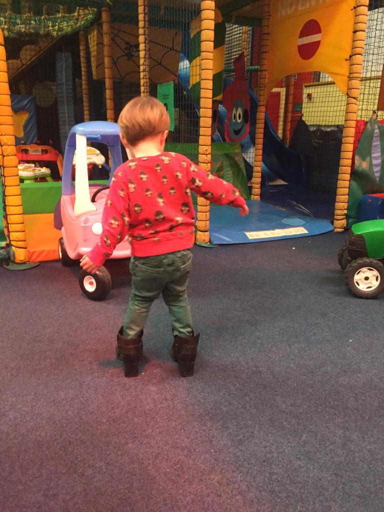 Wearing my boots around soft play as you do!