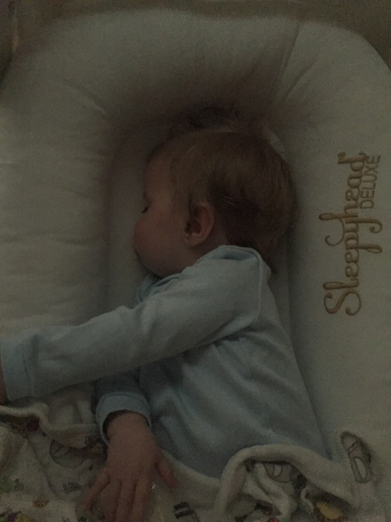 Baby sleeping in Sleepyhead deluxe